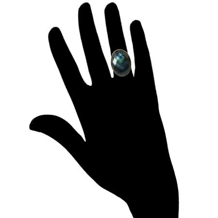 Checker-cut Labradorite Cocktail Ring