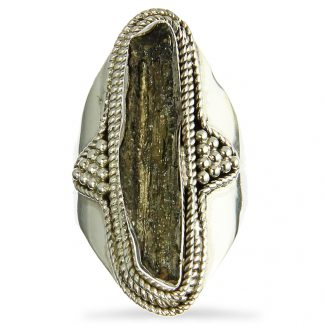 Tall Moldavite Silver Ring