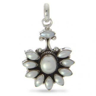 Mother of Pearl Silver Fan Pendant