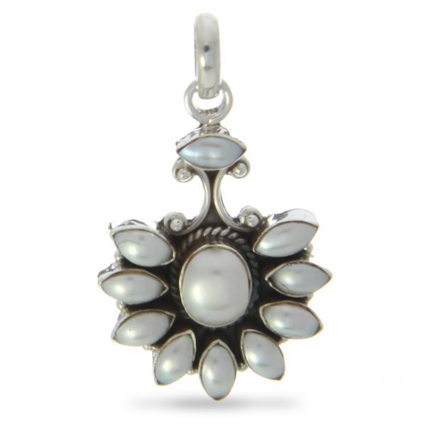 Mother of Pearl Silver Fan Pendant