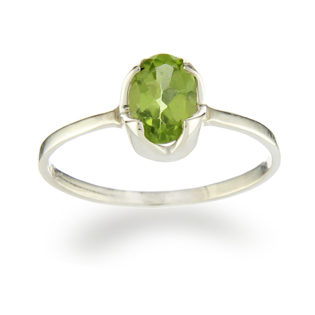 Faceted Peridot Gemstone Ring
