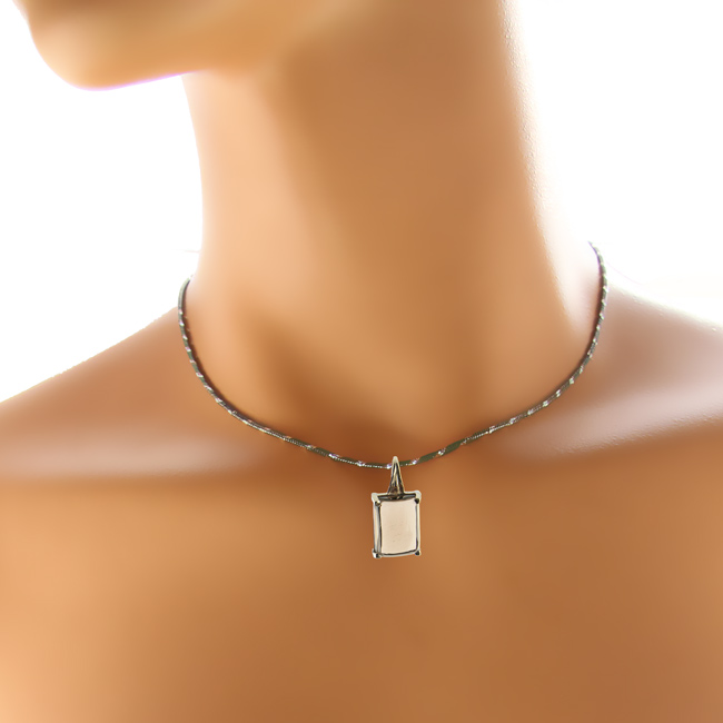 Rectangular Smoky Quartz Silver Pendant