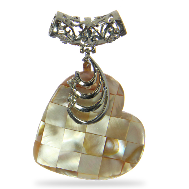 Champagne Checker Mother Of Pearl Heart Pendant