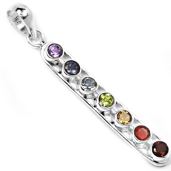 Vertical Chakra Bar Pendant In Sterling Silver
