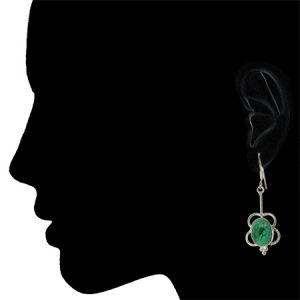 malachite flower earrings