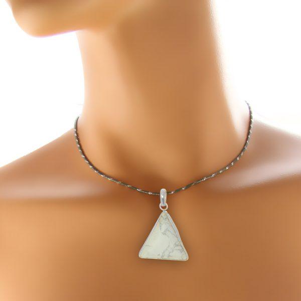 Triangular White Howlite Pendant