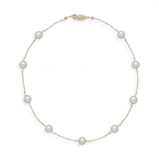 """16"""" 14K Yellow Gold Chain with 7mm Grade A Cultured Akoya Pearls"""