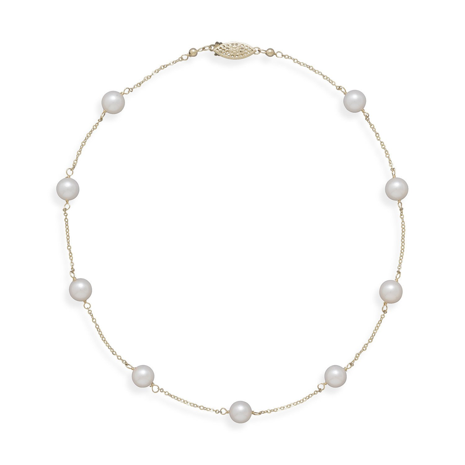 16″ 14K Yellow Gold Chain with 7mm Grade A Cultured Akoya Pearls