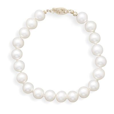 8″ 7-7.5mm Cultured Freshwater Pearl Bracelet
