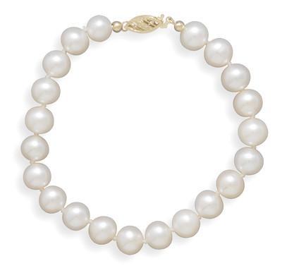 8″ 7.5-8mm Cultured Freshwater Pearl Bracelet