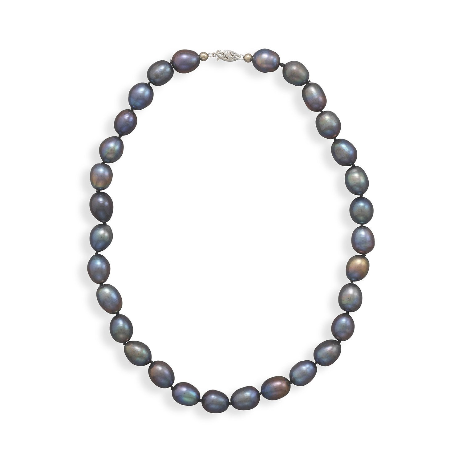 16″ Peacock Pearl Necklace with 14K White Gold Clasp