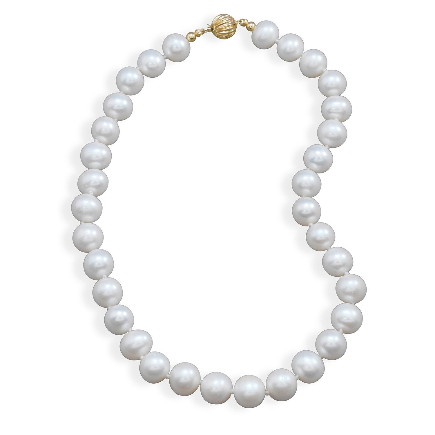 16.5″ 10.5-11.5mm Cultured Freshwater Pearl Necklace with a Yellow Gold Clasp