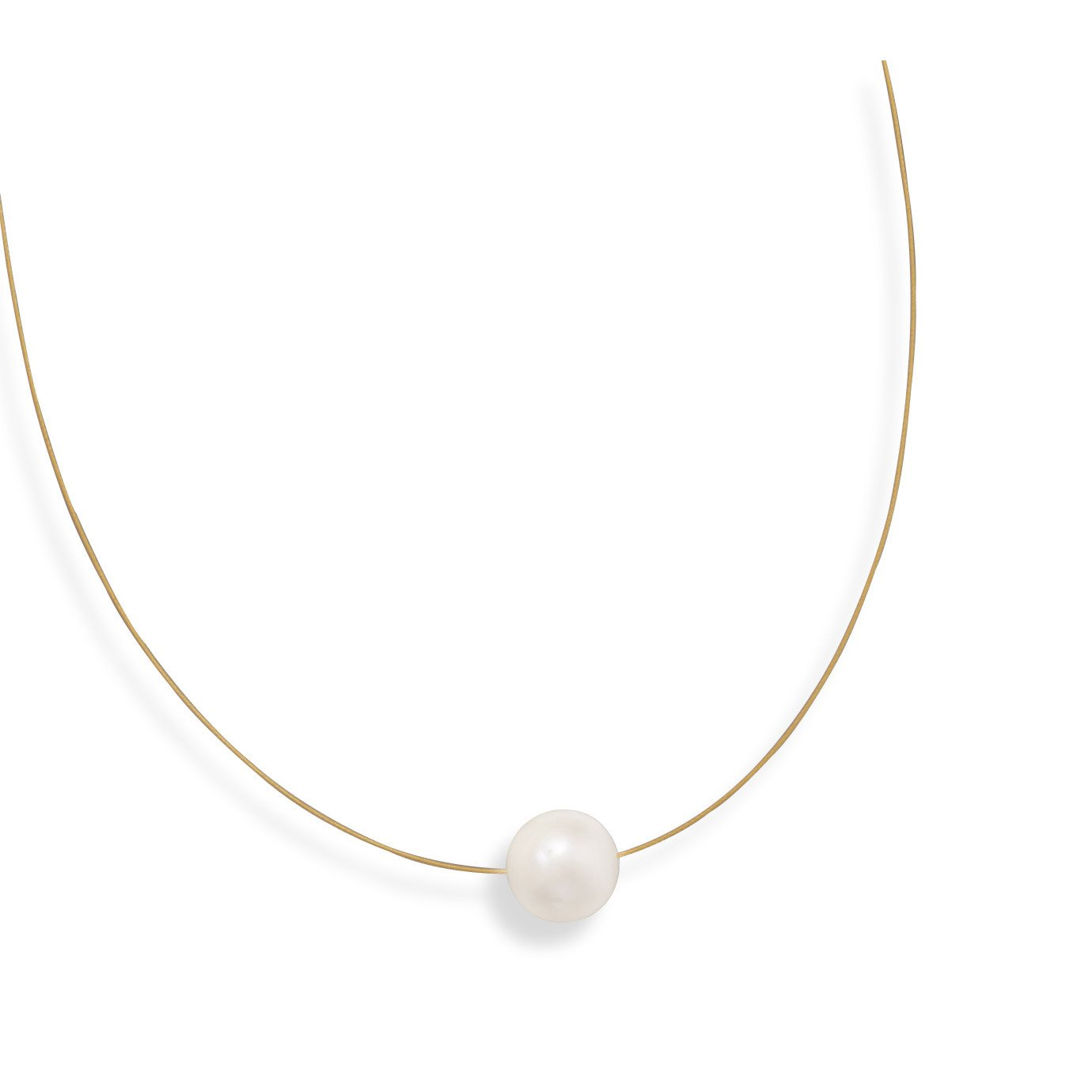 16″ 24 Karat Gold Plated Necklace with Cultured Freshwater Pearl