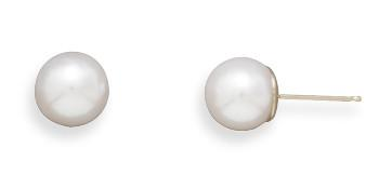Grade AAA 7.5-8mm Cultured Akoya Pearl Earrings with 14K Yellow Gold Posts and Earring Backs