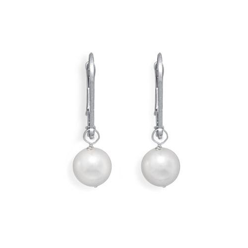 Grade AAA 6.5-7mm Cultured Akoya Pearl Drop Earrings with White Gold Lever Backs