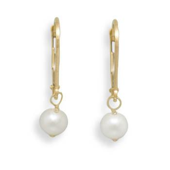 5-5.5mm Freshwater Pearl Drop Earrings with Yellow Gold Lever Back
