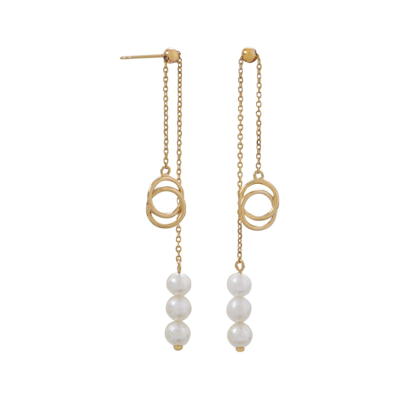 14 Karat Gold Slide Earrings with Cultured Freshwater Pearls