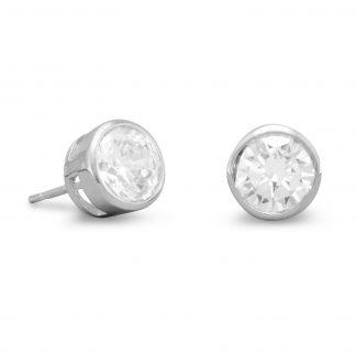 7mm Round Bezel CZ Post Earrings