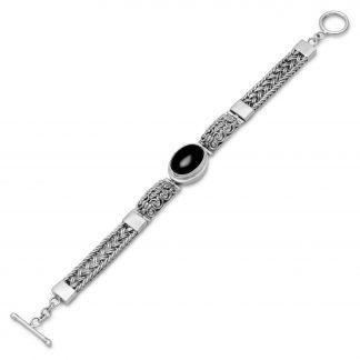 "7.5"" Oval Black Onyx Filigree Design Toggle Bracelet"