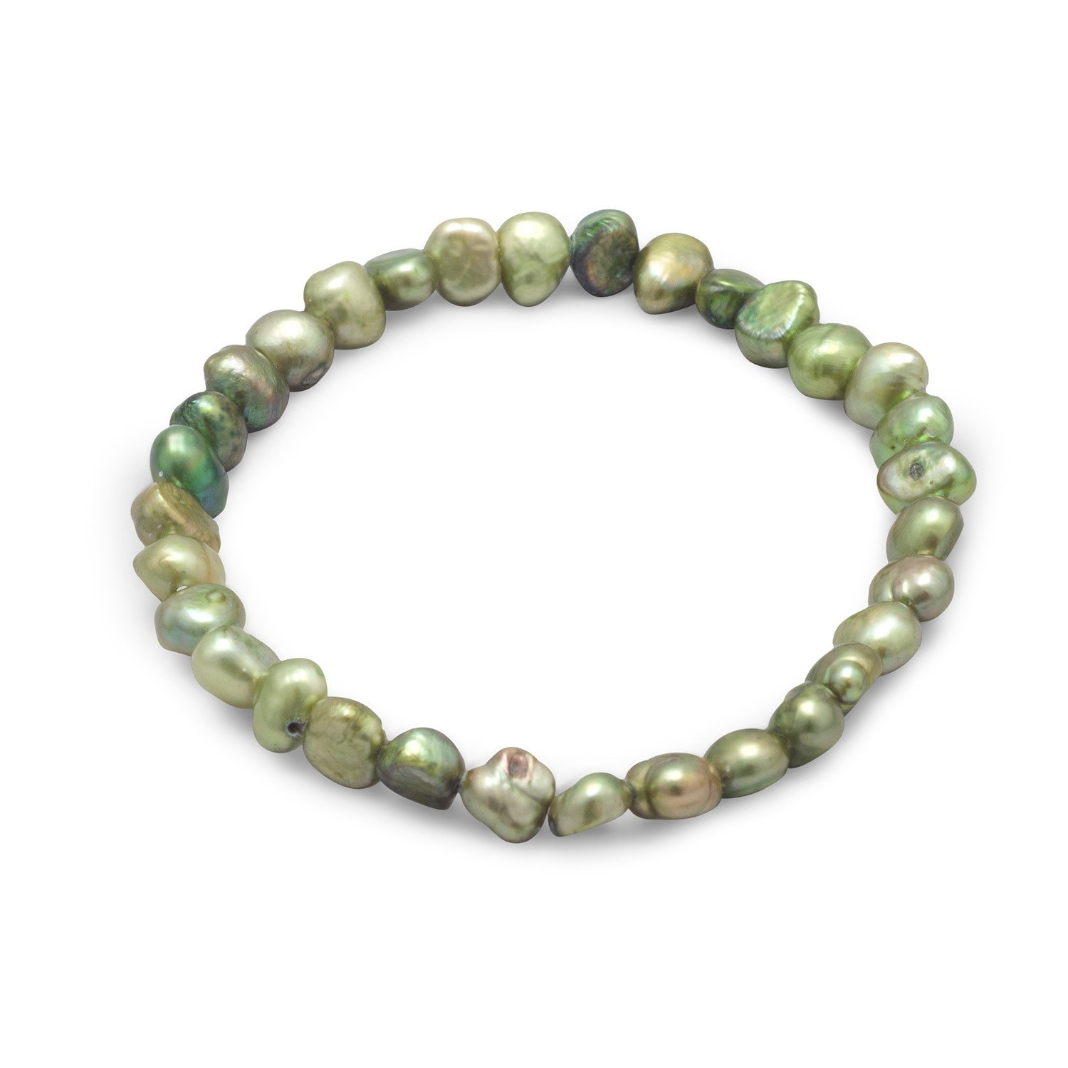 Green Cultured Freshwater Pearl Stretch Bracelet