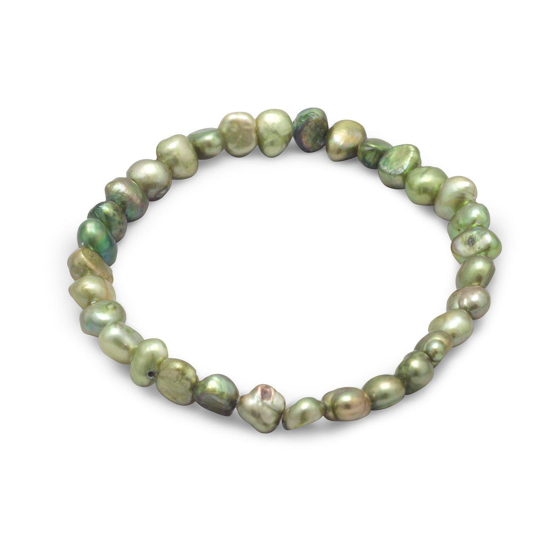 Green Cultured Freshwater Pearl Stretch Bracelet