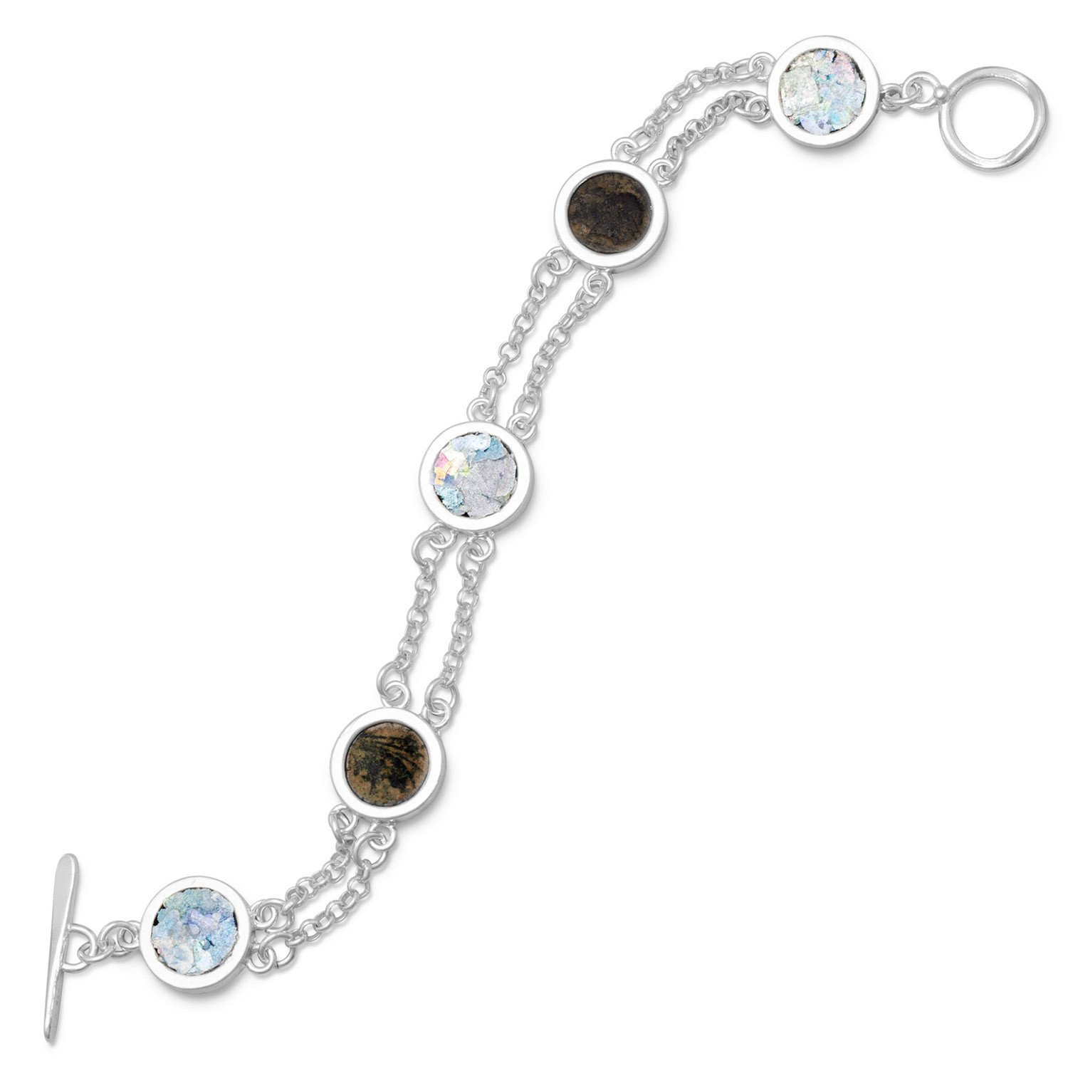 7.75″ 2 Strand Toggle Bracelet with Ancient Roman Glass & Antique Roman Coins