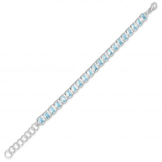 "7""+1"" Extension Blue Topaz Bracelet"