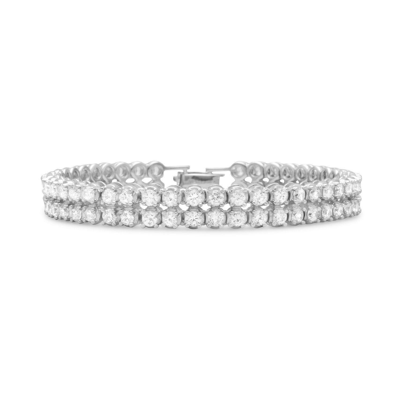 7.5″ Rhodium Plated 2 Row 4mm CZ Bracelet