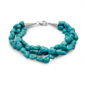 """7.5"""" Triple Strand Reconstituted Turquoise Nugget Bracelet"""