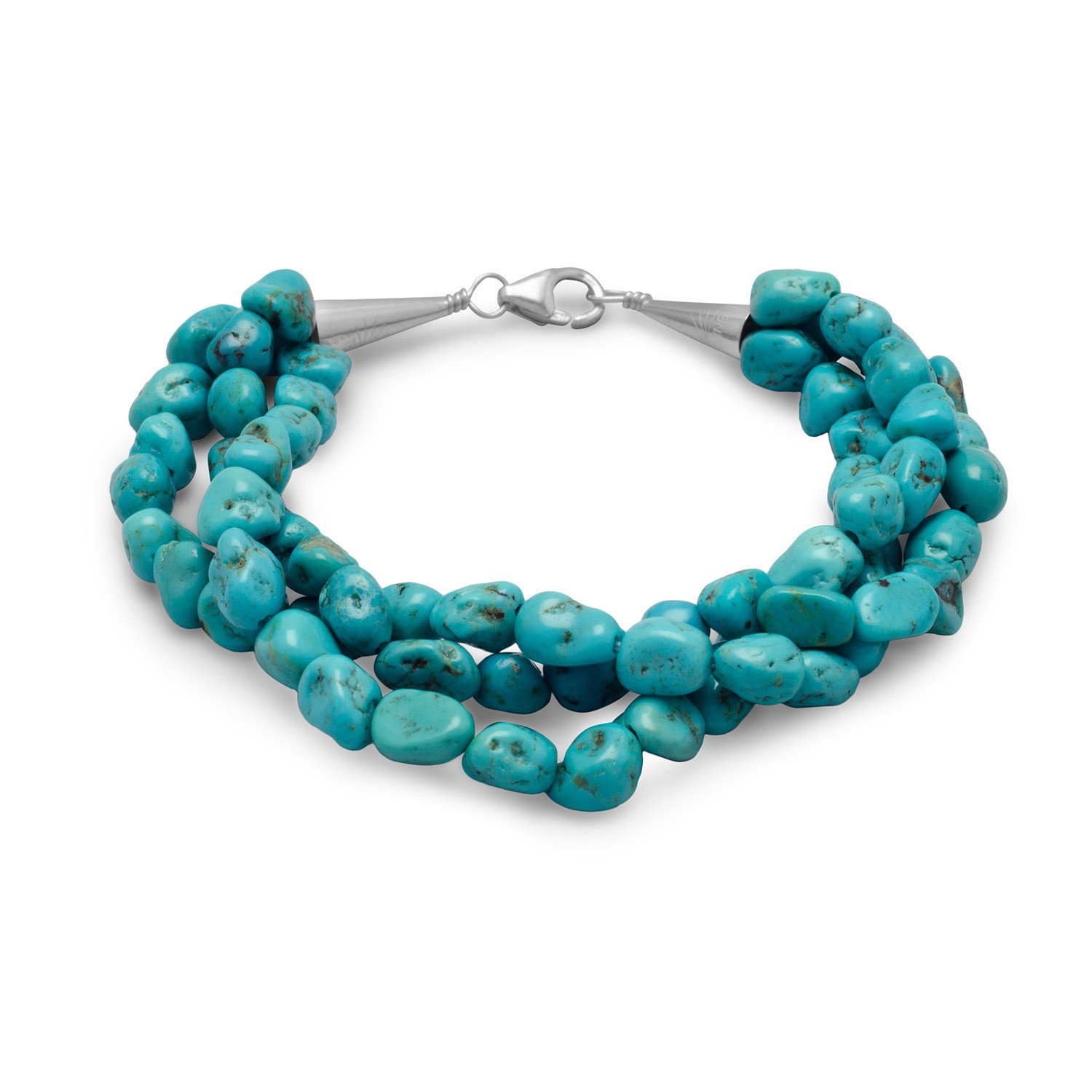 7.5″ Triple Strand Reconstituted Turquoise Nugget Bracelet