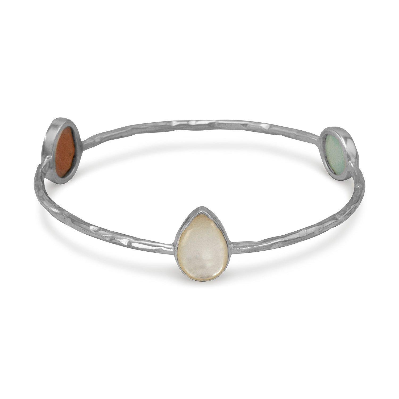 Multistone Hammered Bangle Bracelet