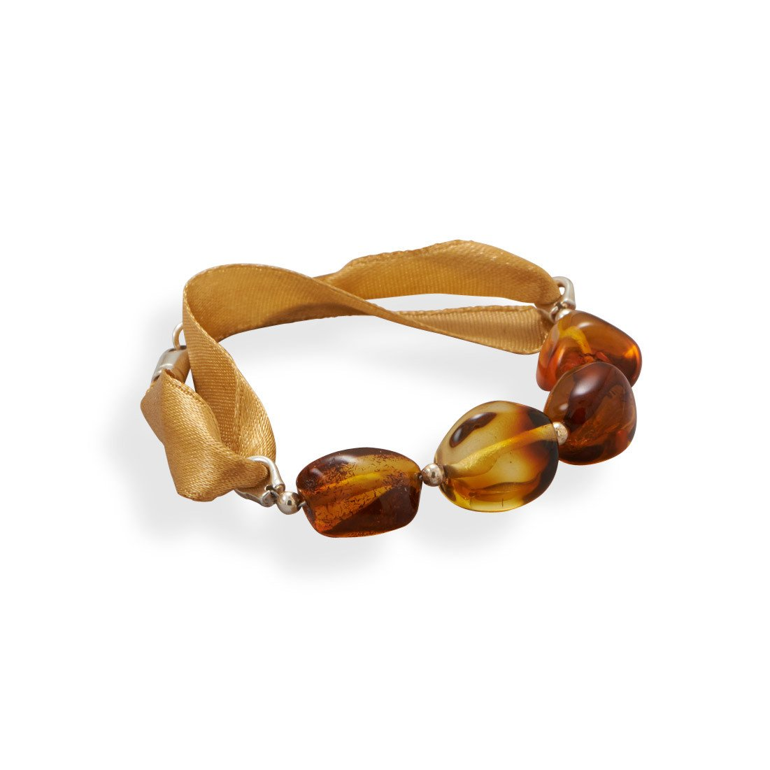7″ Ribbon Bracelet with Baltic Amber