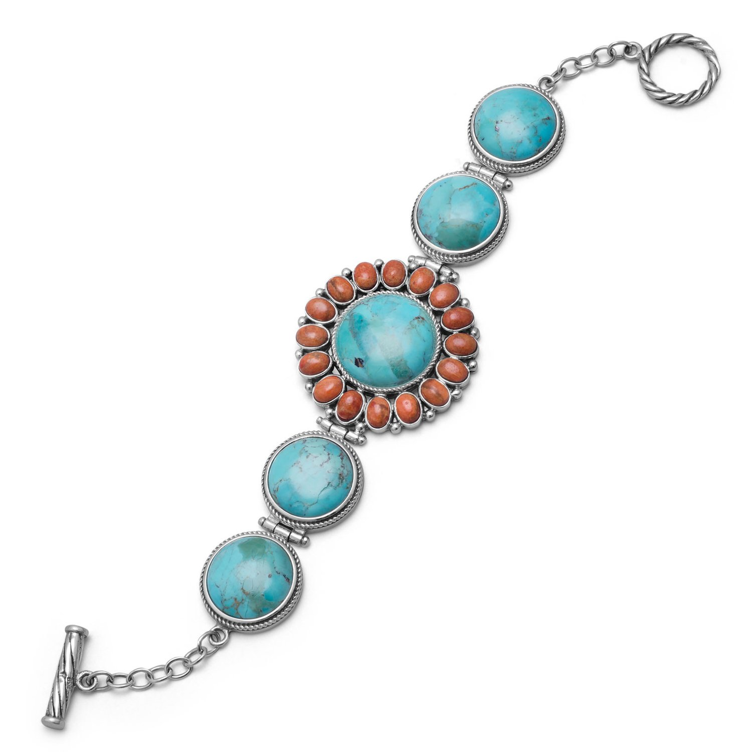 7.5″ Reconstituted Turquoise and Coral Sunburst Toggle Bracelet