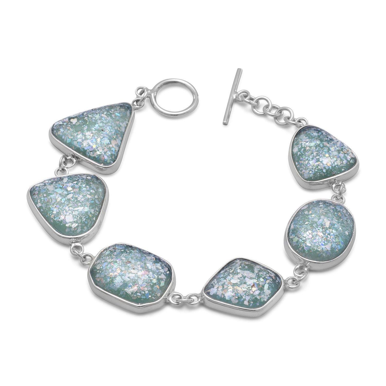 7″ Roman Glass Toggle Bracelet