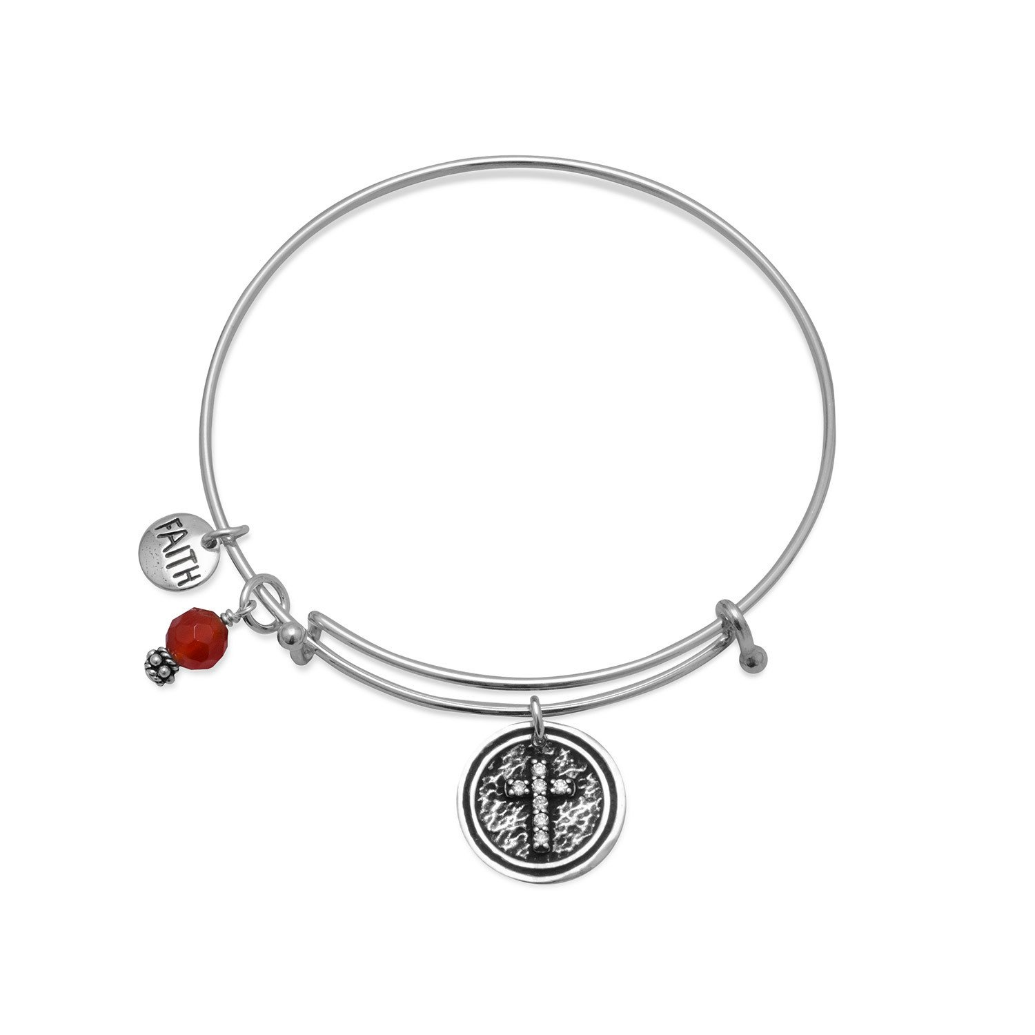 Expandable Multicharm Faith Bangle Bracelet