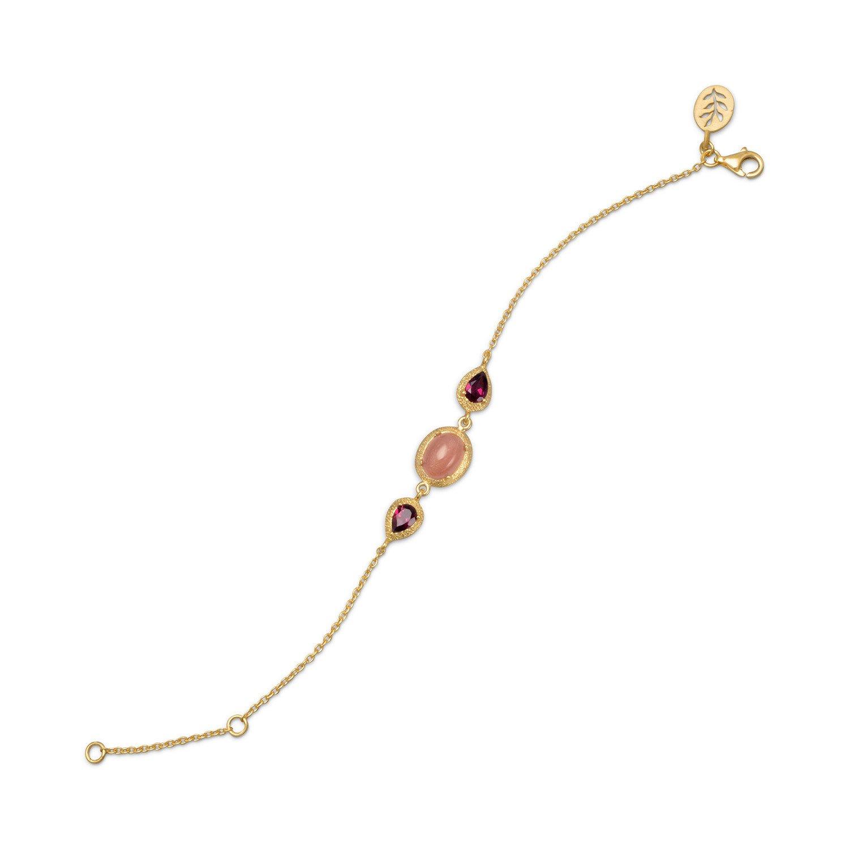 14 Karat Gold Plated Bracelet with Rhodolite Garnet and Moonstone