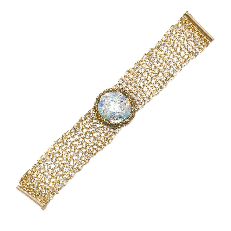 14/20 Gold Filled Woven Ancient Roman Glass Bracelet