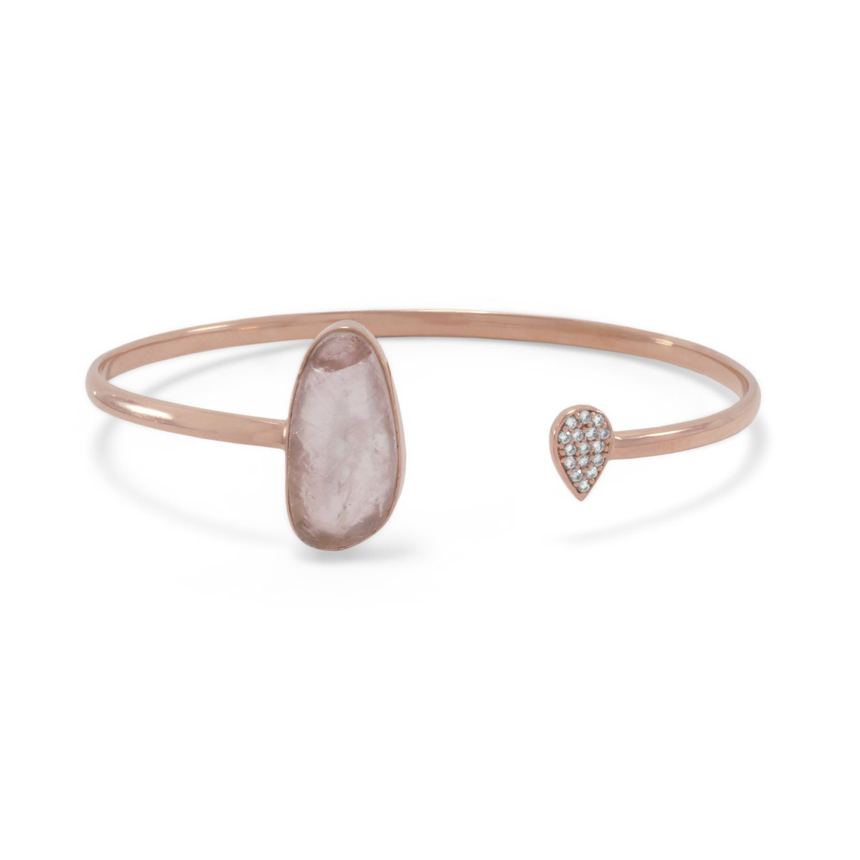 14 Karat Rose Gold Plated Rose Quartz and CZ Open Cuff Bracelet
