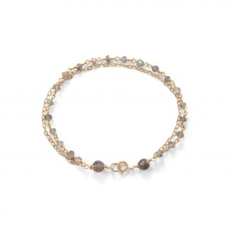 Double Strand 14 Karat Gold Plated Labradorite Beaded Bracelet