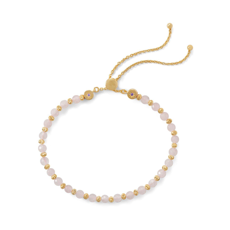 18 Karat Gold Plated Faceted Rose Quartz Bolo Bracelet