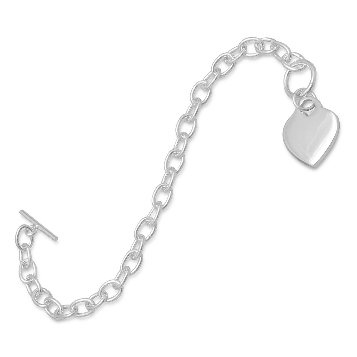 7.5″ Toggle Bracelet with Small Heart Tag