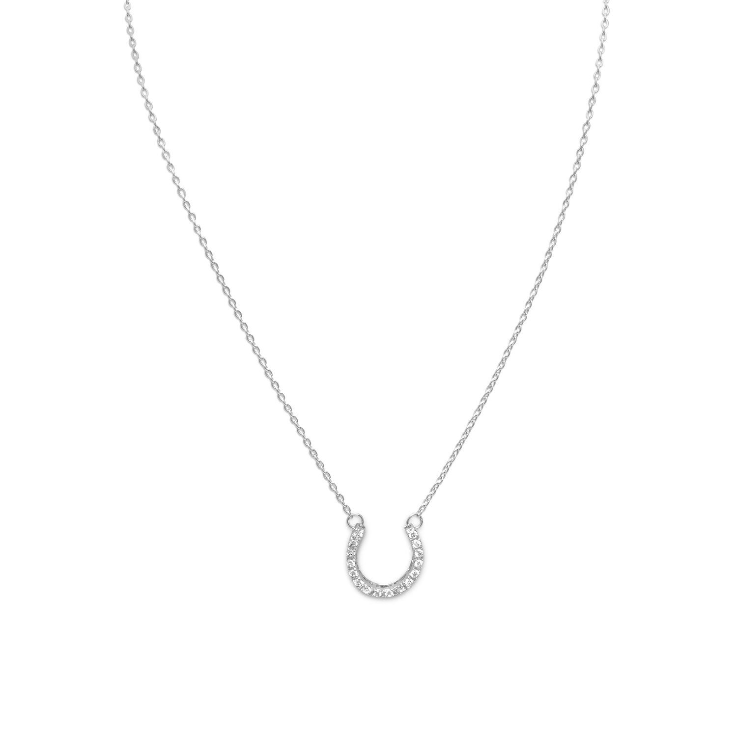 16″ CZ Horseshoe Necklace