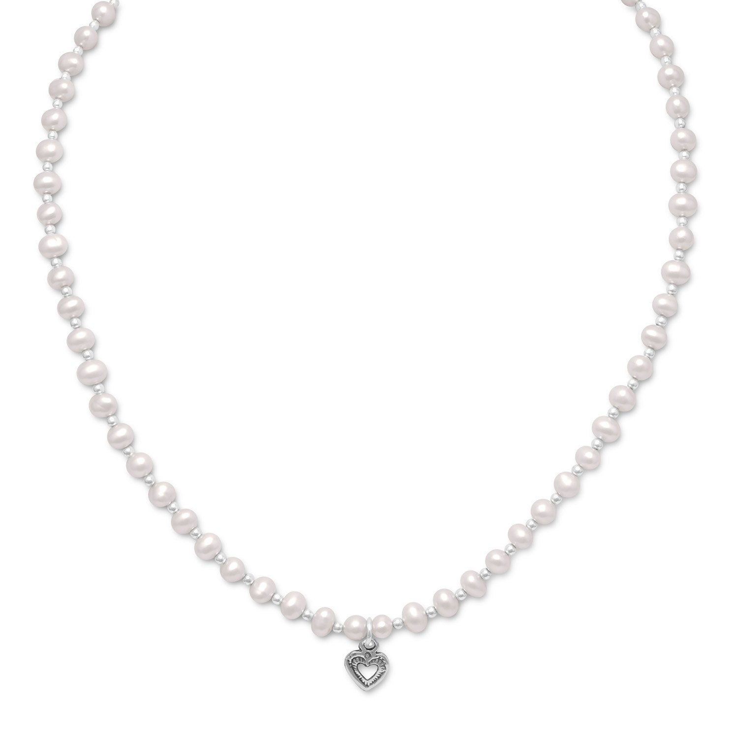 13″+2″ Extension Cultured Freshwater Pearl/Silver Bead Necklace with Oxidized Heart