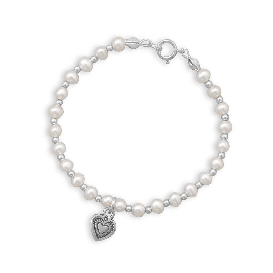 6″ Cultured Freshwater Pearl and Silver Bead Bracelet with Oxidized Heart