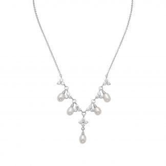 """16"""" + 2"""" Rhodium Plated CZ Flower and Pearl Necklace"""