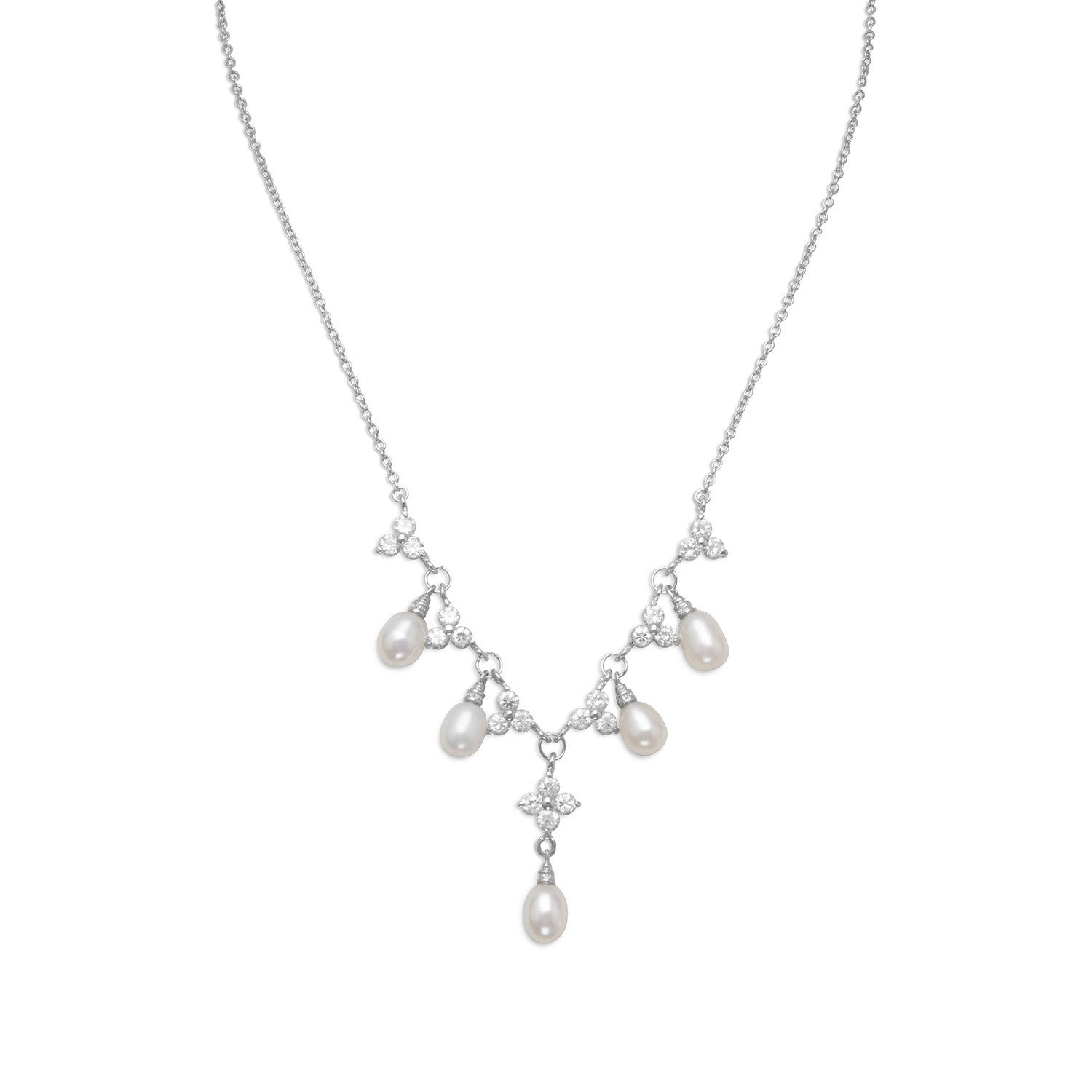 16″ + 2″ Rhodium Plated CZ Flower and Pearl Necklace