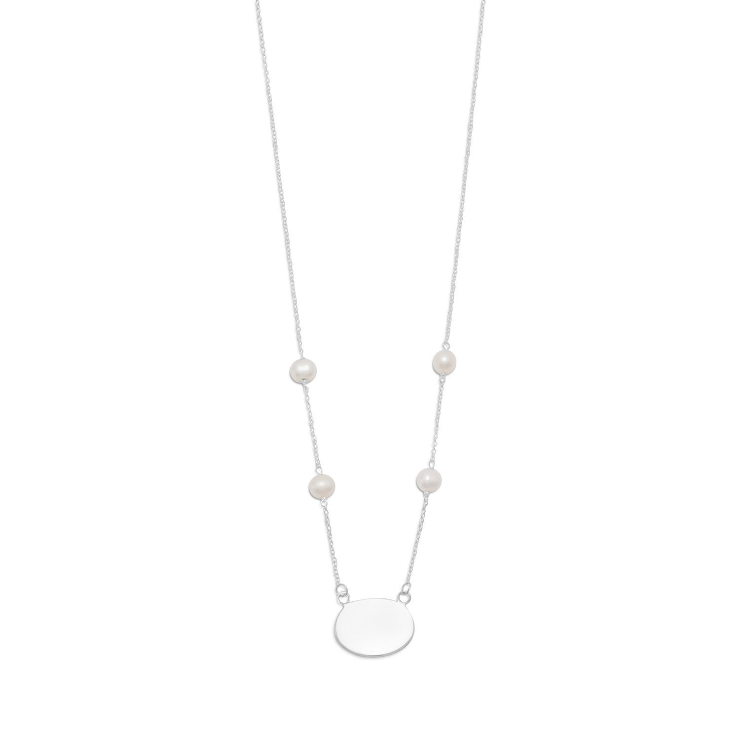 16″ ID Tag Necklace with White Cultured Freshwater Pearls