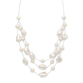 """16""""+2"""" Extension Graduated Shell and Cultured Freshwater Pearl Necklace"""