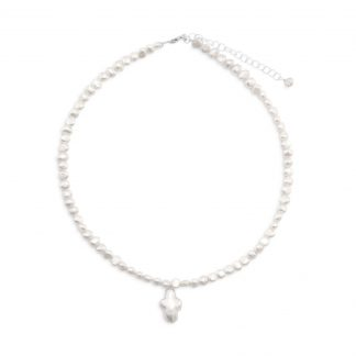 """13""""+2"""" Extension Cultured Freshwater Pearl Necklace with Pearl Cross"""