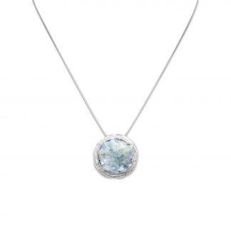 "16"" Textured Edge Ancient Roman Glass Necklace"